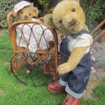 ANTIQUE OLD TEDDY BEAR CHILTERN 23 INCHES IN ANTIQUE LEATHER BOOTS