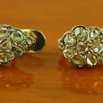Certified 2.00ct  Antique Rose Cut Diamond Earrings 14K Yellow Gold