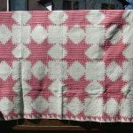 SIMPLY THE BEST LARGE ANTIQUE SNOWFLAKE & PINWHEEL TURKEY RED HAND MADE QUILT