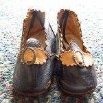 Amazing Antique FANCY Black Leather DOLL SHOES Slippers Patent 1872 Orig LABEL