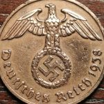 """WW2 NAZI Germany Old 1938 """"F"""" Copper 2 Pfennig Antique Coin w/ Eagle & Swastika"""