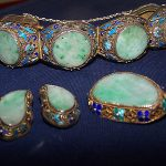 Antique Chinese  Export Jade ,Enamel, Filigree , 3 piece matching set of Jewelry