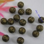 FREE SHIP 50pcs Antique bronze  Plated Round Filigree Loose Spacer Beads GK941