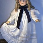Beautiful Antique Dress for Larger Child Doll w/Velvet Hat & Cheveux Wig