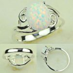 Filigree Antique 925 Sterling Silver White Opal Ring Size#8 A013