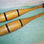 Pair Antique  Indian Clubs 1.5 lb. Vintage Wooden Exercise Juggling Pins