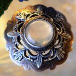SWEET VICTORIAN ANTIQUE ECTHED CHASED STERLING SILVER MOONSTONE CABOCHON BROOCH