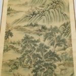 Antique Chinese 1920th C. Landscape Watercolor Painting Signed 54″ x 28″