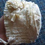 Stunning Antique Ecru SILK & LACE Bisque Bebe DOLL BONNET Wide Lace Ribbon Curls