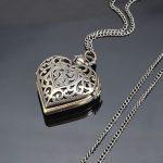 Vintage women Copper Skeleton Carved Necklace Quartz Pocket Watch fashion /chain