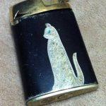 Vintage Gold Black Cigate Lighter with Antique Jeweled Cat Detail