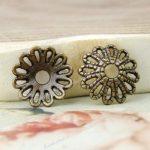 100Pcs wholesale Vintage Antique Bronze Brass Flower Bead Caps 12×12 TS19894