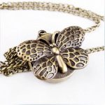 238% FREE SHIP Antique style Archaize butterfly Pocket Watch Necklace