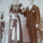 Beautiful Young Victorian Bride & GroomAntique Wedding Cabinet PhotoDetroit