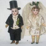 ANTIQUE MINATURE MAN & WOMAN BISQUE DOLLS BRIDE & GROOM GERMANY VERY OLD