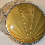 Vintage Art Deco Gold Crystal Glass & Guilloche Compact Mirror Powder Bowl