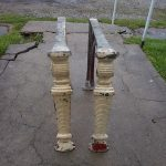 Antique Machine Age Cast Iron Legs,Table or Bench Base with Art Deco Design