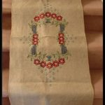 ARTS & CRAFTS PERIOD MISSION STYLE  EMBROIDERED LINEN TABLE RUNNER 21″ X 55″
