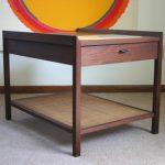 Vintage mid century danish modern walnut cane side end table eames era
