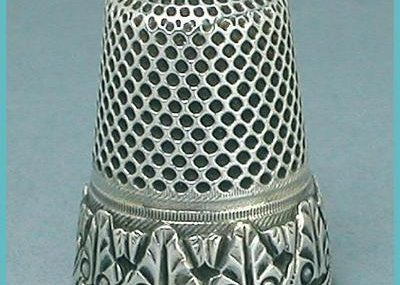 Antique Scalloped Band French Silver Thimble  Hallmarked  Circa 1890s