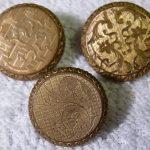 3 Antique Fancy Gilt Brass Buttons  Watchcase