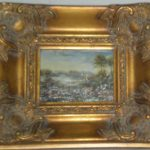 """""""Antique"""" Oil Painting Frame with Painted Reproduction  Country Landscape"""