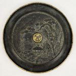 Antique Chinese 16th C. Ming Dynasty Bronze Signed Hand Mirror w/ Landscape