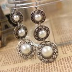 Antique Vintage Silver Round White Pearl Dangle Chandelier Ethnic Earrings