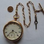 American Watch co.  Waltham  Model 1857  Pocket Watch Size 18.  Key Wind