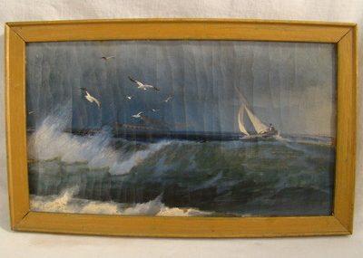 Antique VICTORIAN SEASCAPE SailBoat & SteamShip NAUTICAL Folk Art BIRDS Painting