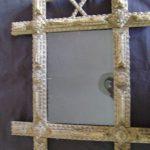 Folk Art Wood Frame 19th c. Tramp Art Hand Chip Carved Ornate Primitive Antique