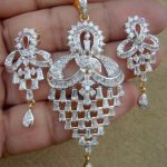 Simulated CZ Diamond Dangle Pearl Pendant Earring Set Gold Plated Antique  0k 67