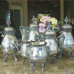 Antique Meriden Chased Silver Plate 6Piece Tea Set  3 Pots, Intricate c1865