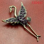 Charming Purple Crystal Antique Bronze Swan Brooch Free shipping AX0447