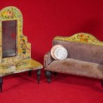 Antique Litho Paper on Wood Dolls House Settee & Mirrored Hall Stand 6.5 &10cm h