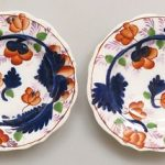 GOOD PAIR ANTIQUE MINIATURE GAUDY WELSH PINK LUSTRE PLATES IN XLT CONDITION