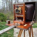 Antique 1901 WOODEN Wollensak Folding Camera on Telescoping Tripod w/Film CLEAN