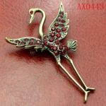 Honorable Crystal Antique Bronze Swan Brooch Free shipping AX0443