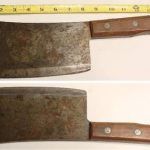 Old Antique LARGE Butcher Knife MEAT CLEAVER Slaughterhouse Cutlery Tool