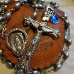 Large Antique Sterling Silver Rosary Deco Miraculous Mary St Benedict Medal Evil