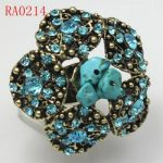 Trendy Crystal & Antique Bronze Adjustable Ring Free Shipping RA0214