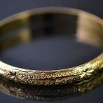Antique 9K Yellow Gold Filled Womens Bangle 60MM,B157