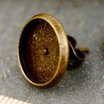 6 AntiqueBronze Ear Studs Earring Posts Cabochon Setting Base 12mm m91