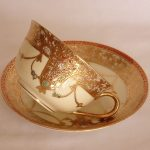 NORITAKE Rare Antique Jewelled Gilded Handpainted Cup/Saucer 1908 HM VFC