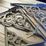 ANTIQUE Cast Iron Victorian scrolled SHELF BRACKETS corbels supports