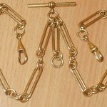 ANTIQUE 18CT GOLD FILLED  DOUBLE POCKET WATCH CHAIN   30.6 GRAMS