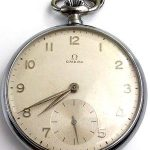 ANTIQUE OMEGA OPEN FACE WORKING KEYLESS TOP WIND POCKET WATCH