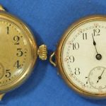 Circa 1900s Lot of 2 Elgin & Swiss Open Face Antique Pocket Watches 28mm