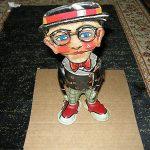 Vintage Antique Tin Wind Up toy Harold Lloyd Funny face walker. Marx Company