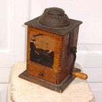 ANTIQUE WOOD DOVETAILED ARCADE COFFEE MILL GRINDER IXL W SLIDING METAL COVER